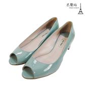 【巴黎站二手名牌專賣店】*現貨*MIU MIU 真品*漆皮蘋果綠星鑽墬飾魚口粗跟鞋