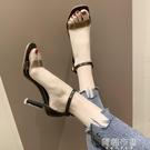 細跟高跟涼鞋 鞋子新款女一字帶露趾涼鞋女細跟仙女風高跟鞋夏季時尚女鞋潮 阿薩布魯