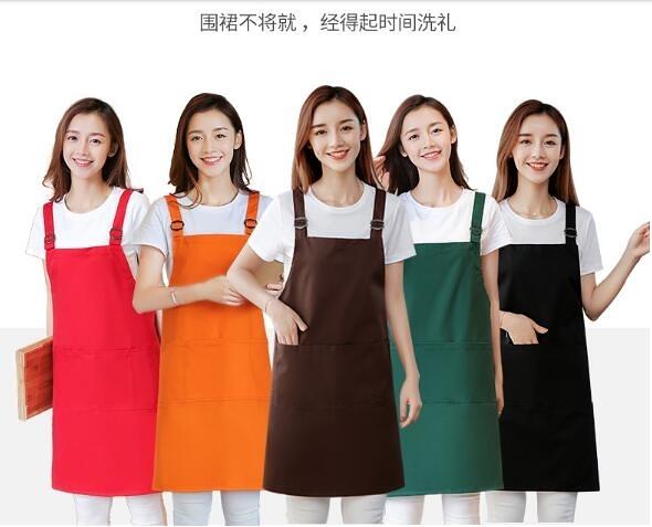 圍裙家用廚房服務員純棉工作服女時尚男防水防油圍腰定制LOGO印字 印象家品