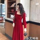 方領金絲絨洋裝秋冬法式復古收腰名媛高端氣質打底紅色禮服長裙 小艾新品