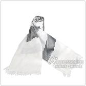 Calvin Klein 雙色條紋印花造型長圍巾(白)