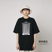 夏季短袖T恤上衣印花寬鬆圓領休閑五分袖男【聚物優品】