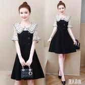 大碼胖妹妹mm洋氣娃娃領黑色短袖洋裝 夏季新款顯瘦遮肉連身裙 XN1808『麗人雅苑』