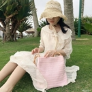港風ins側背休閒草編織包森系沙灘斜背女包學生手提百搭簡約包袋 黛尼時尚精品