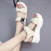 厚底運動涼鞋女夏新款韓版學生百搭魔術貼松糕坡跟羅馬老爹鞋 露露日記