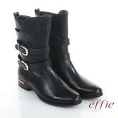 effie 保暖靴 真皮弧線靴口飾釦奈米中長靴 黑