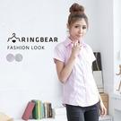 襯衫--簡約氣質OL首選單邊口袋設計條紋...