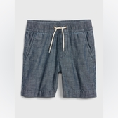 Gap男幼棉質鬆緊腰牛仔短褲538106-靛藍精紡斜紋布