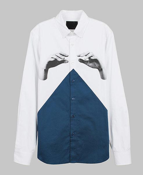 【摩達客】韓國進口EXO合作設計品牌DBSW Color Composer組色者白藍綠時尚純棉男士長袖襯衫12815098012