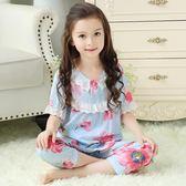 夏季寶寶棉綢兒童女童睡衣短袖薄款公主