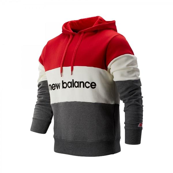 NEW BALANCE 紅 白 灰 黑英文LOGO 拼接 刷毛 帽T 男 (布魯克林) AMT93545REP