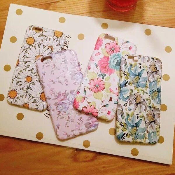 iPhone手機殼 韓國代購 文藝小清新花朵 烤漆矽膠夜光軟殼 蘋果iPhone7/iPhone6手機殼