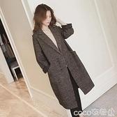 小個子中長款韓版流行千鳥格毛呢子外套大衣女裝2021年秋冬季新款 coco