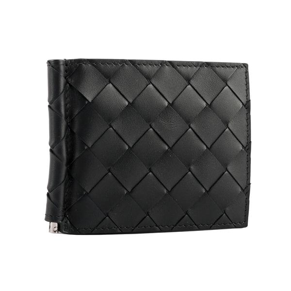 【BOTTEGA VENETA】新款小牛皮編織對開鈔票夾短夾(黑色) 592626 VCPQ4 8803