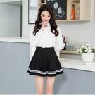 日系甜美不穿幫彈力厚垂感白條邊鬆緊腰安全褲裙 11740009