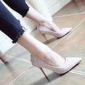 秋季細跟高跟鞋 尖頭綢緞布單鞋【多多鞋包店】z2819