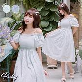 洋裝 方領珍珠公主袖印花短袖長洋裝-Ruby s 露比午茶