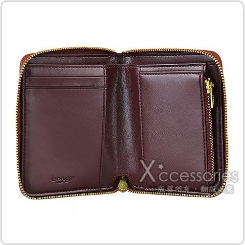 COACH專櫃款 經典印花LOGO刺繡設計PVC  2卡拉鍊短夾(咖啡x白蘭地)