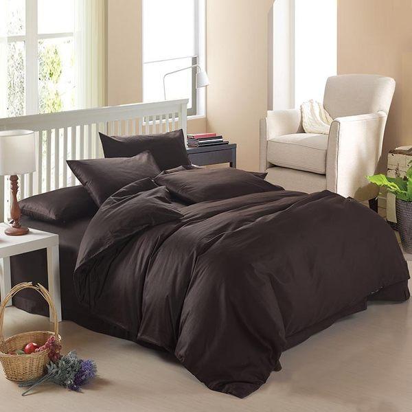 雙人床包組含枕頭套+棉被套+床罩-純棉單色四件套寢具組 12色65i1[時尚巴黎]