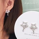 銀針耳環《可改耳夾式》超閃亮星星銅鍍金微鑲鋯石耳針 (SRA0082) AngelNaNa