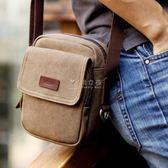 帆布包男 韓版男士單肩包帆布包戶外運動小背包休閒復古斜背包男包包 俏女孩