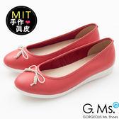 G.Ms.*沙粒*MIT系列-羊皮線圈綁繩蝴蝶結包鞋-馬卡紅
