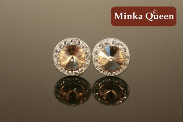 德國鈦鋼橘色盤鑽抗敏耳環(一對)(9 mm)