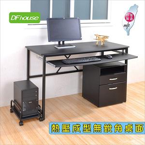 《DFhouse》艾力克多功能電腦桌+主機架+檔案櫃(全配)-2色黑色