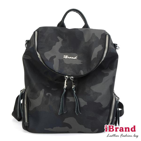 【iBrand】韓國時尚尼龍配真皮大U 2WAY側背後背包-迷彩綠 DO-1053-綠迷