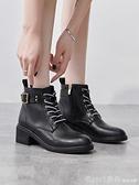 短靴 英倫風粗跟馬丁靴子女2020秋冬季新款高跟加絨短靴百搭女鞋 開春特惠
