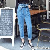 韓版秋裝寬鬆學院風牛仔長褲女生百搭直筒學生哈倫褲子潮【芭蕾朵朵】