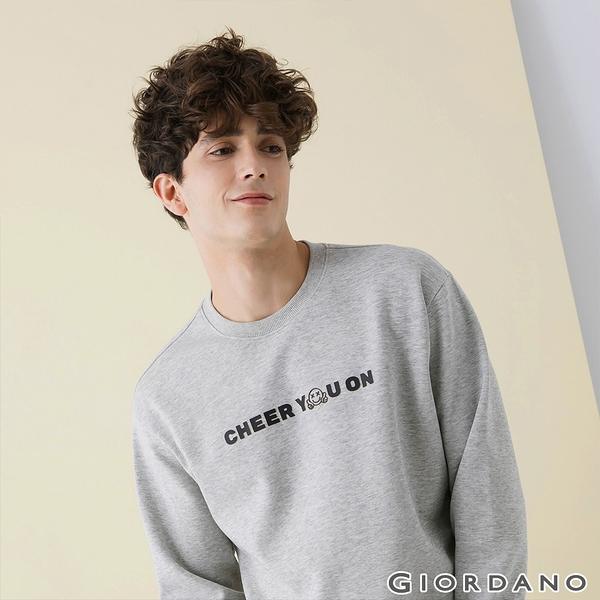 【GIORDANO】 男裝CHEER YOU ON大學T恤 - 22 中花灰
