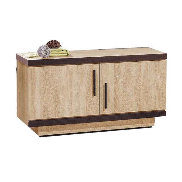 【采桔家居】芙雷特 時尚2.8尺木紋二門座鞋櫃/玄關櫃