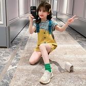 女童網紅套裝夏裝2021新款兒童韓版小女孩夏季洋氣背帶褲兩件套潮 美眉新品
