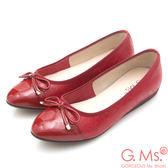 G.Ms. MIT系列-漆皮拼接牛皮蝴蝶結娃娃鞋*紅色