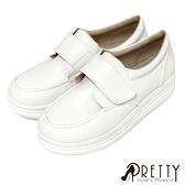 B-26289 寬版沾黏式厚底白色學生鞋/護士鞋【GREEN PHOENIX】