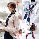 小絲巾 女韓版窄超長雙層緞面領巾頭繩腰帶...