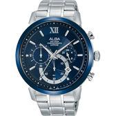ALBA雅柏 Prestige 酷流行計時手錶-藍/44mm VD53-X295B(AT3D27X1)
