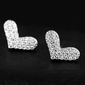 耳環 925純銀 鑲鑽-甜美愛心生日聖誕節交換禮物女飾品2色73hz13【時尚巴黎】
