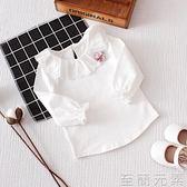 女童上衣春裝女童上衣女娃娃領打底衫0-3歲長袖白純棉t恤蕾絲翻領 至簡元素
