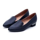 MICHELLE PARK 自信焦點  拼接尖頭金屬鑲嵌樂福鞋-藍黑