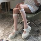中筒襪襪子女IN MIMIFACE白色小腿襪子女長筒襪ins潮夏季薄款日系中筒透明襪jk【寶貝 新品】