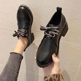 復古皮鞋黑色小皮鞋女英倫風2021秋季新款百搭中跟粗跟工作單鞋復古休閒冬 JUST M