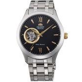 【台南 時代鐘錶 ORIENT】東方錶 SEMI-SKELETON鏤空機械錶 FAG03002B 黑/銀 38mm