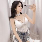 小可愛 2020春裝新款韓版時尚百搭純色性感低胸吊帶掛脖蕾絲帶胸墊背心女  店慶降價