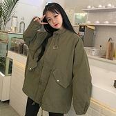 新款韓版寬鬆復古中長款學生燈籠袖風衣