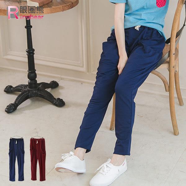 質感運動褲--街頭百搭腰頭抽繩哈倫褲版型大口袋休閒棉褲(紅.藍2L-5L)-P108眼圈熊中大尺碼★