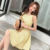 洋裝 新款韓版少女小清新學生格子無袖洋裝修身A字裙短裙女 綠光森林