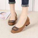 2020年韓版優雅絨面方扣方頭低跟鞋鞋5色