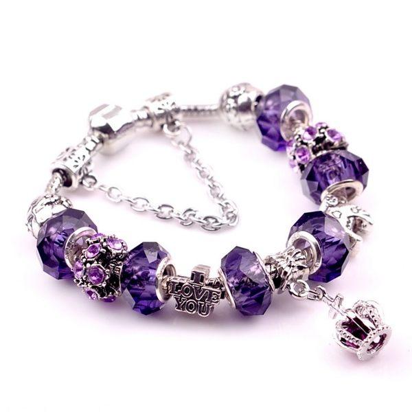 潘朵拉風格 紫戀巴黎皇冠之心紫鑽925純銀串珠 手鍊